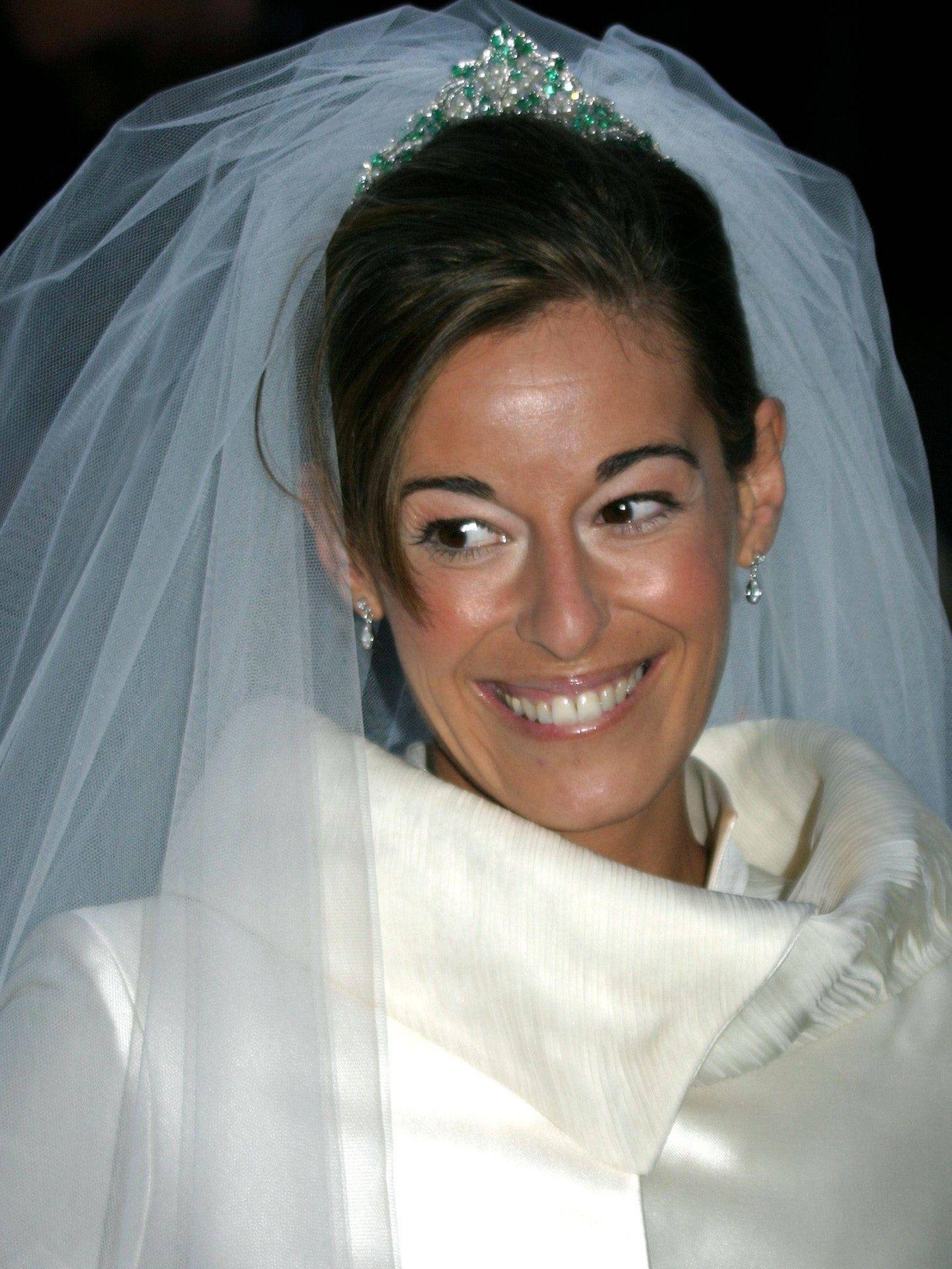 Mónica Martín Luque, luciendo las esmeraldas como tiara. (Gtres)