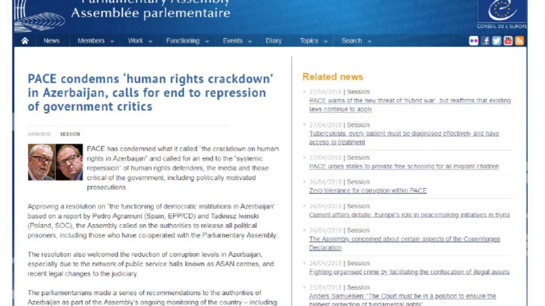 Nota de la Asamblea del Consejo de Europa que Agramunt usa para demostrar que ha sido crítico con Azerbaiyán.