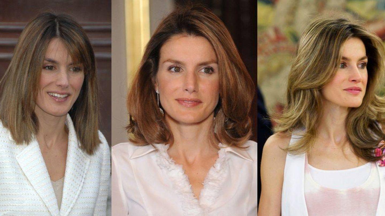La reina Letizia en 2007, 2008 y 2009. Del cabello encrespado al dominio de la onda. (Getty)