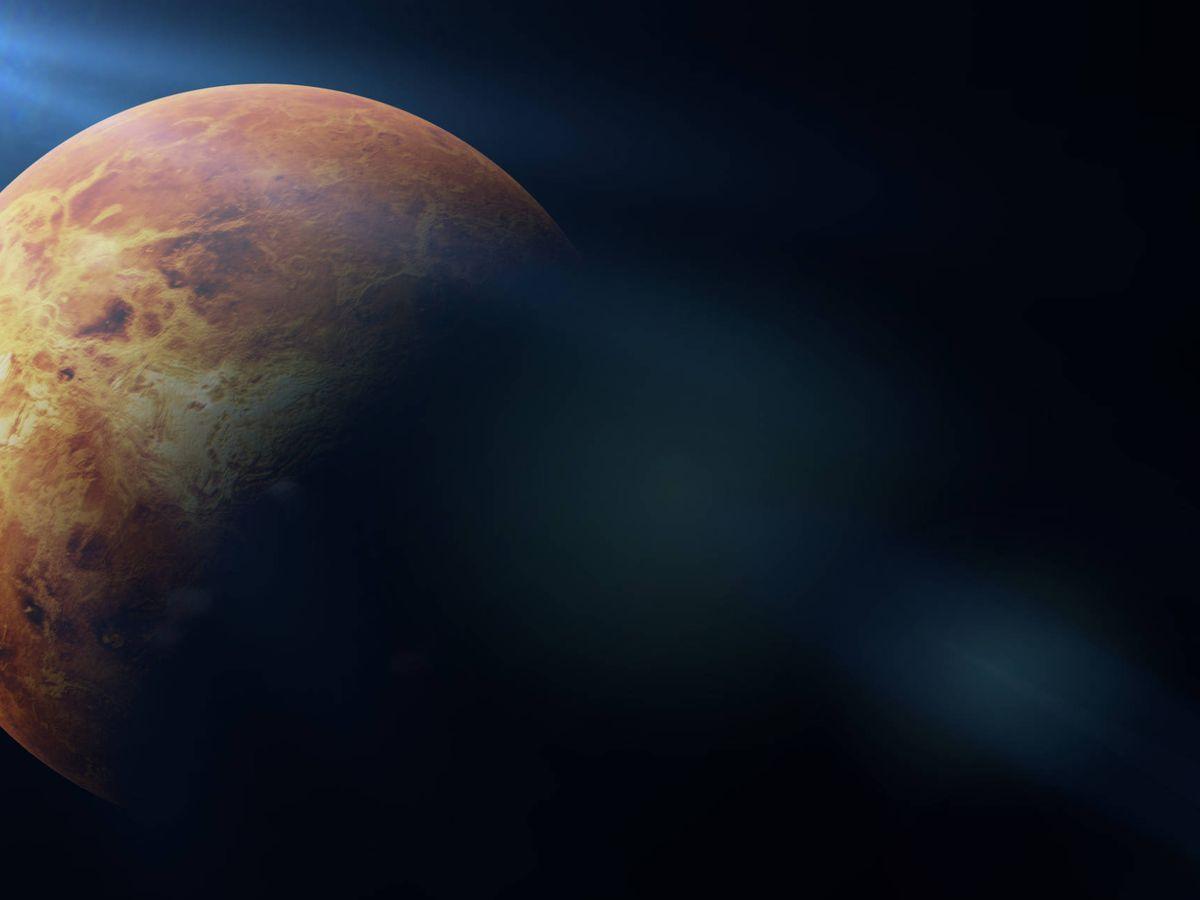 Foto: Ilustración que muestra el planeta Venus iluminado por el Sol. (iStock)