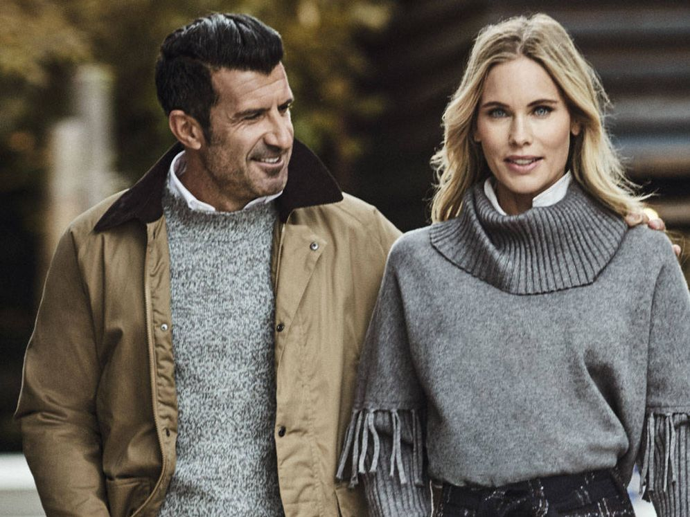 Foto: Luis Figo y Helene Svedin, en la campaña de Cortefiel. (Cortesía)
