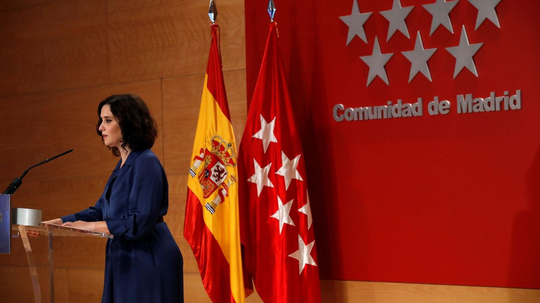 Foto: La presidenta de la Comunidad de Madrid, Isabel Díaz Ayuso, durante la rueda de prensa ofrecida este jueves en la Real Casa de Correos. (EFE)