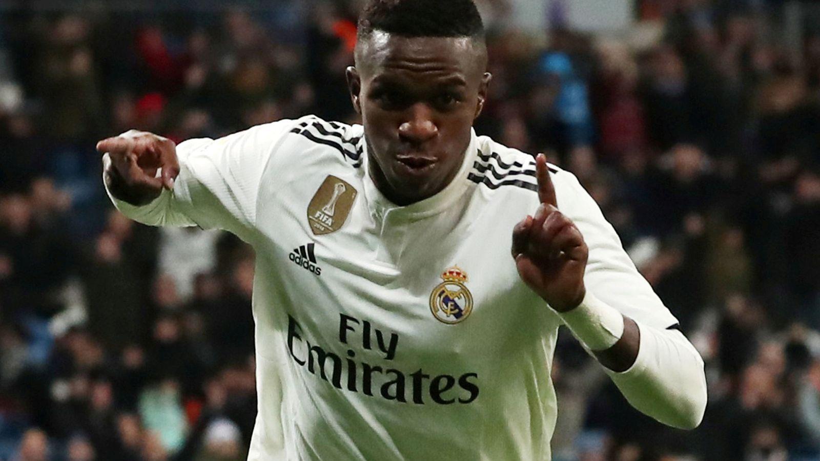 Foto: Vinicius Junior celebra un gol en Copa del Rey con el Real Madrid. (EFE)