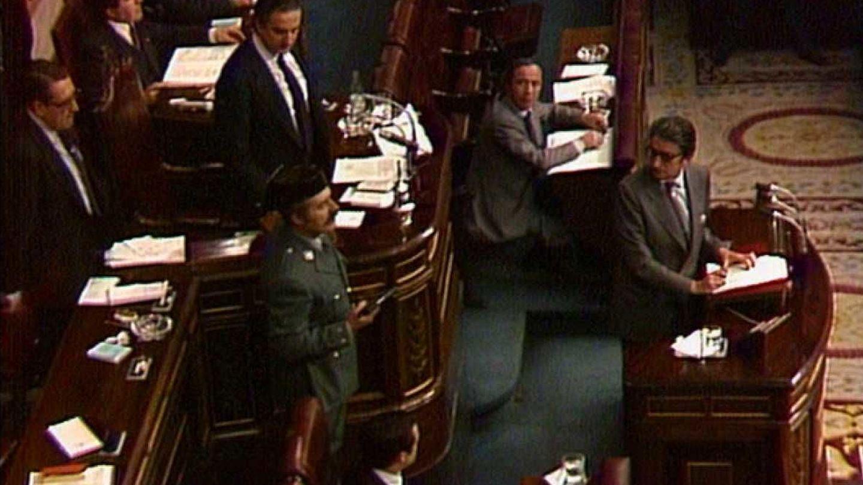 Un momento del intento de golpe de Estado del 23-F de 1981.