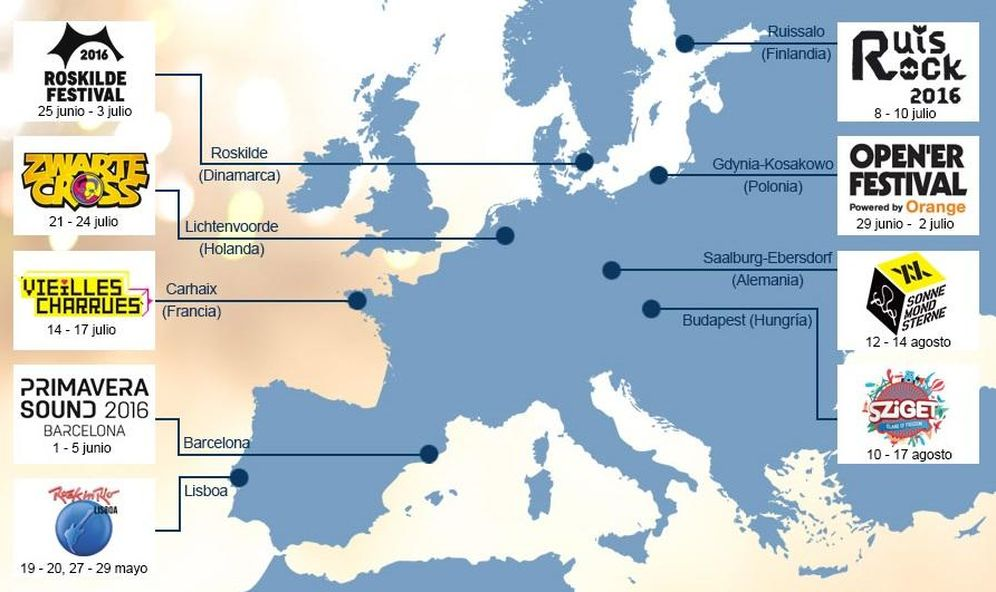 Foto: Mapa de los principales festivales en Europa (idealo)