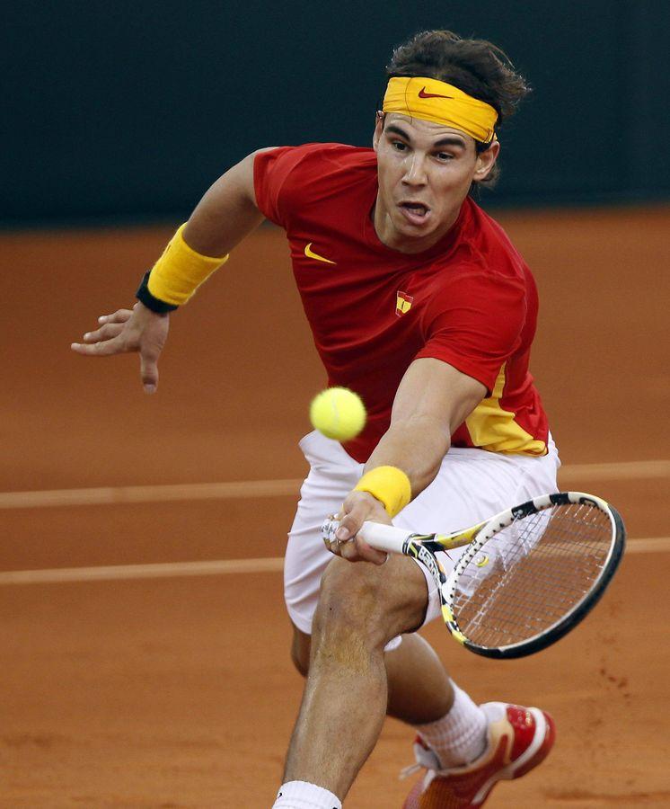 Foto: Rafa Nadal jugando la Davis con España. (EFE)