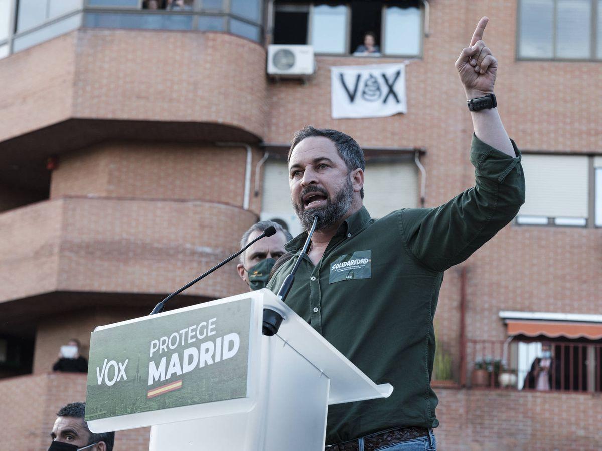 Foto: Abascal durante su discurso en Vallecas. (EFE)