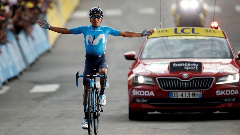 Foto: Nairo Quintana celebra su victoria en Valloire. (EFE)