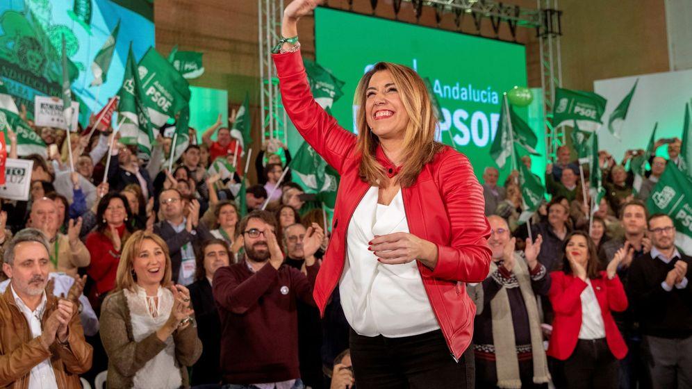 Foto: Susana Díaz en su acto de cierre de campaña en Sevilla. (EFE)