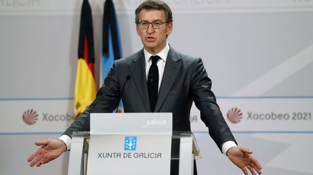 Foto: El presidente de la Xunta, Alberto Núñez Feijóo, durante la rueda de prensa posterior a la reunión del 'consello' de la Xunta el pasado viernes. (EFE)