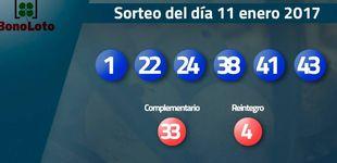 Post de Resultados del sorteo de la Bonoloto del 11 enero 2017: números 1, 22, 24, 38, 41, 43