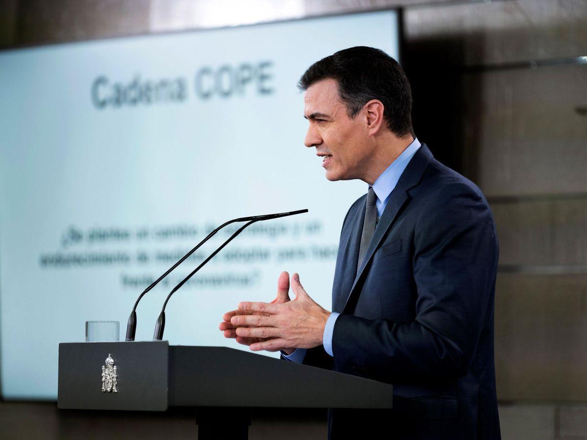 Foto: Pedro Sánchez, durante su comparecencia en la Moncloa de este 28 de marzo. (EFE | Pool Moncloa)