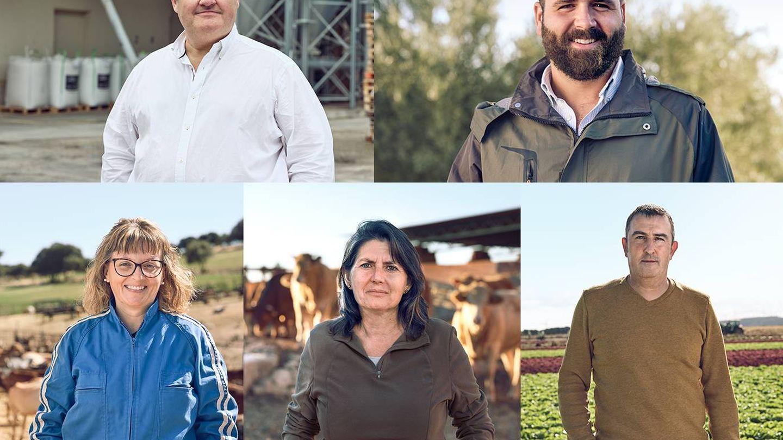 Algunos de los productores implicados en la nueva receta (de izq a dch): Jaime García Cárdenas, Antonio Cano, Raquel, Pilar Díaz y José Luis Fernández. (Cortesía)