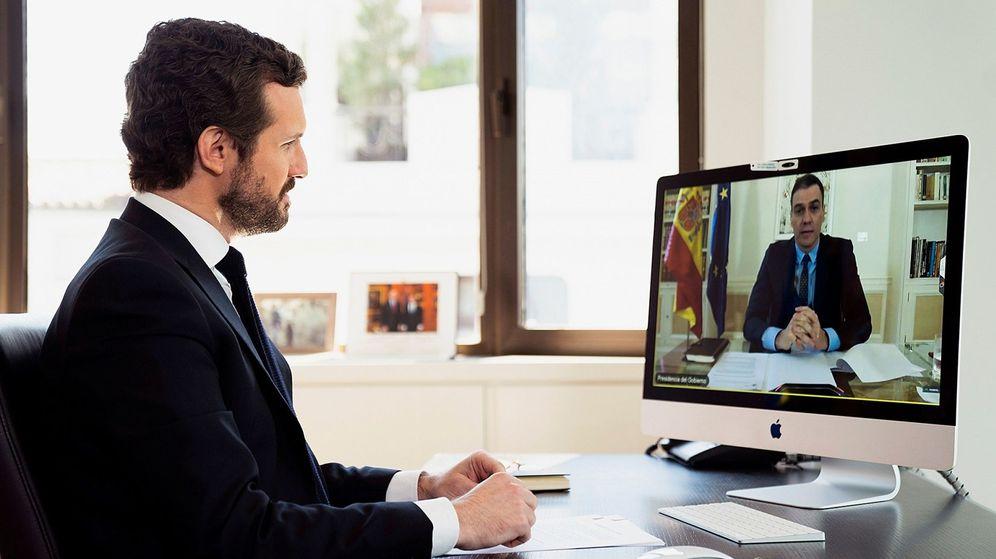 Foto: El líder del Partido Popular, Pablo Casado (i), mantiene una videoconferencia con el presidente del Gobierno, Pedro Sánchez. (EFE)