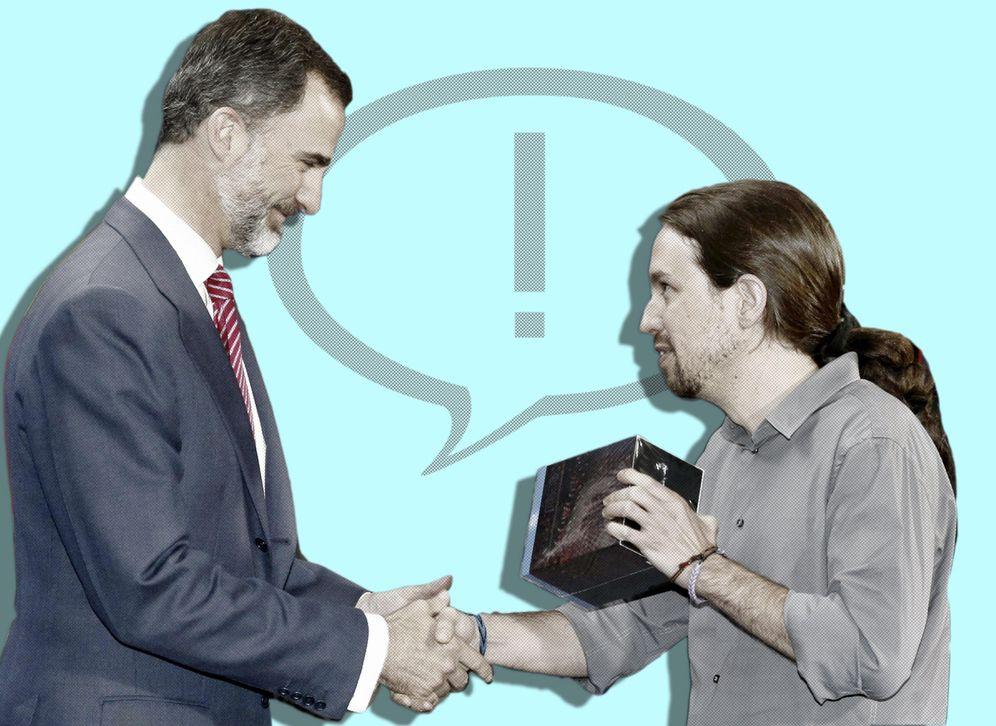 Foto:  Felipe VI y Pablo Iglesias en su primer encuentro. (E. Villarino)