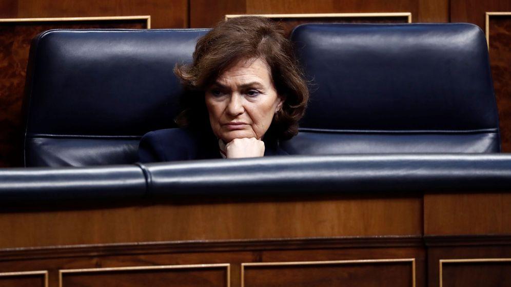 Foto: La vicepresidenta del Gobierno Carmen Calvo, durante un pleno extraordinario. (EFE)