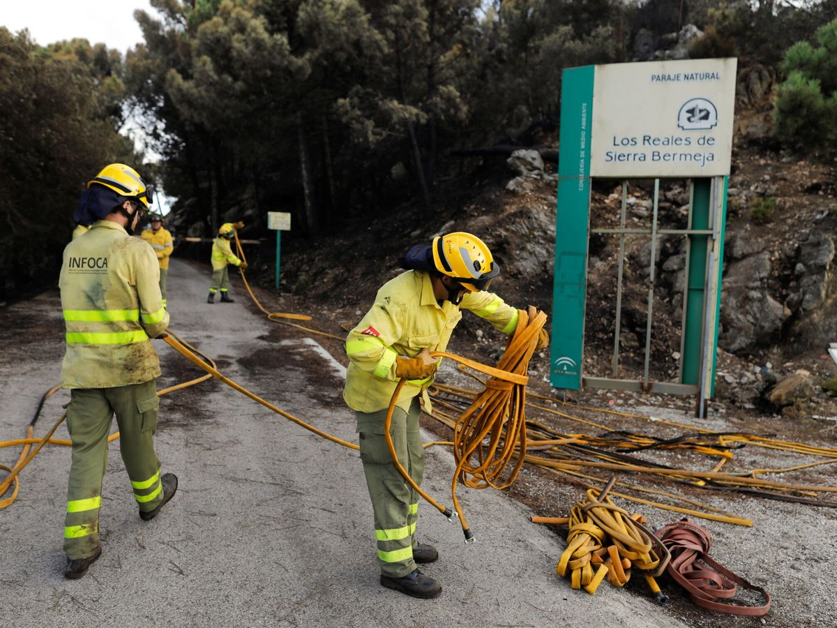 Foto: Bomberos en Sierra Bermeja. (Reuters)
