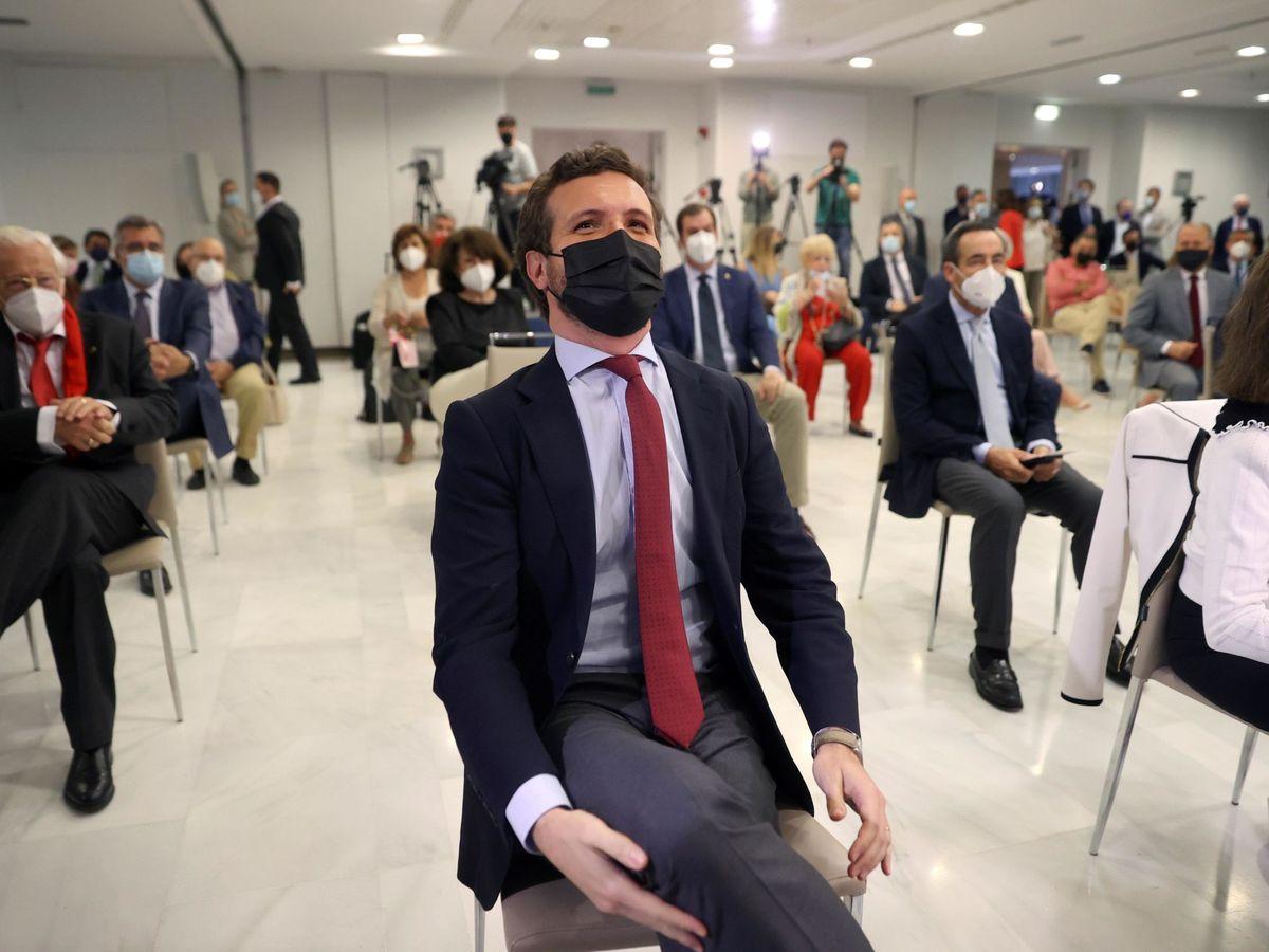 Foto: Pablo Casado, este lunes, en el Club Siglo XXI de Madrid. (EFE)