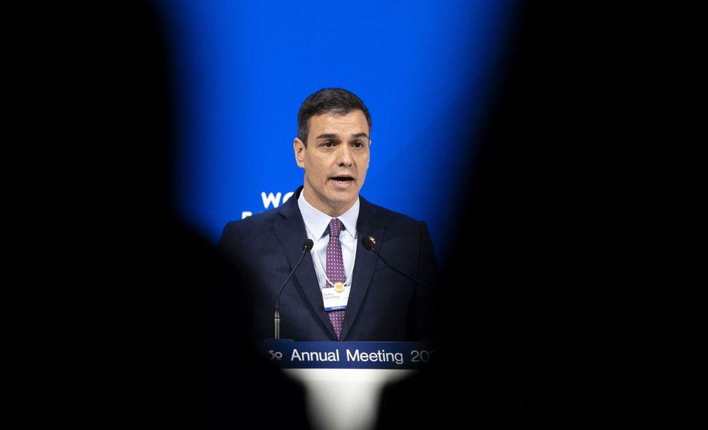 Foto: Pedro Sánchez, durante su discurso en el World Economic Forum. (EFE)