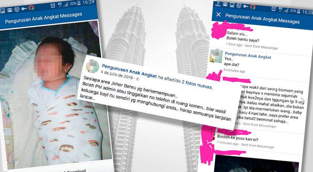 Foto: Página de Facebook de una de las 'granjas de bebés' de Malasia. (Montaje: Carmen Castellón)