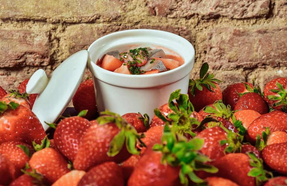 Foto: Gazpacho de fresones con arenques del Báltico marinados. (Restaurante Viridiana)