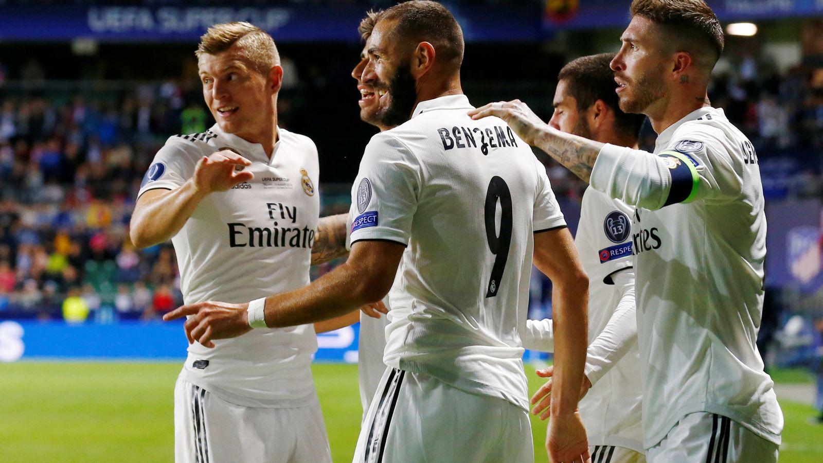 Foto: Benzema celebra el gol de cabeza marcado en la Supercopa de Europa al Atlético de Madrid. (EFE)