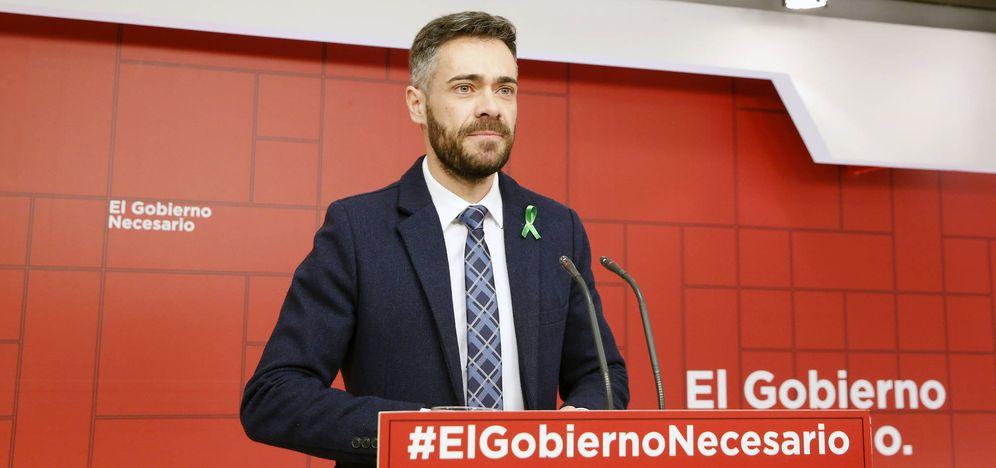 Foto: Felipe Sicilia, portavoz adjunto del comité electoral del PSOE, este 4 de febrero en Ferraz. (Inma Mesa | PSOE)