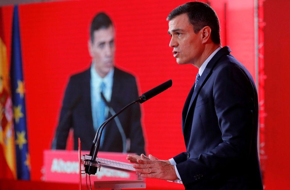 Foto: Pedro Sánchez, este 7 de octubre en la presentación del avance del programa del PSOE, en el Espacio Rastro de Madrid. (EFE)