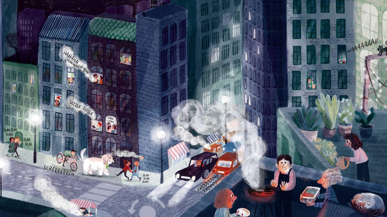 Ilustración de 'Nuevo en la ciudad'. (Marta Altés)
