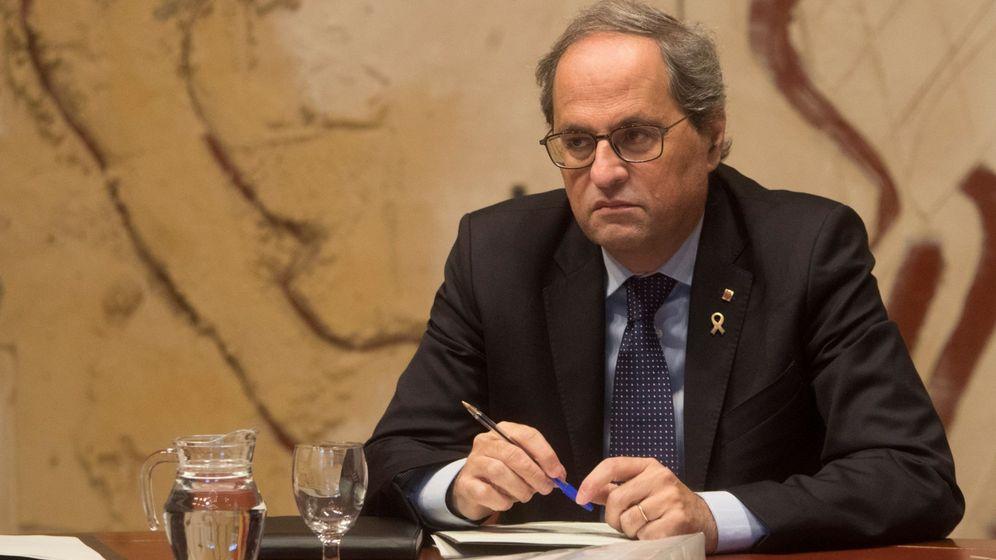 Foto: El presidente de la Generalitat, Quim Torra, durante la reunión semanal del Ejecutivo catalán. (EFE)