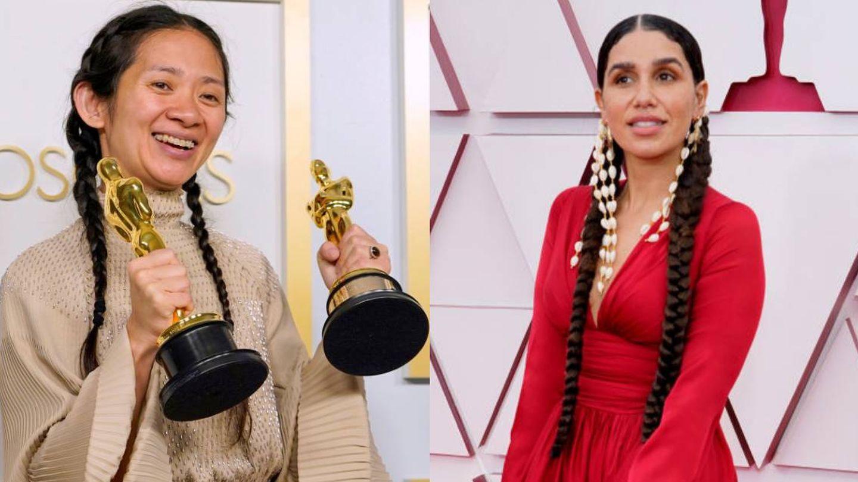 Chloé Zhao y Azikiwe Mohammed, con sus trenzas en los Oscar 2021. (Getty)