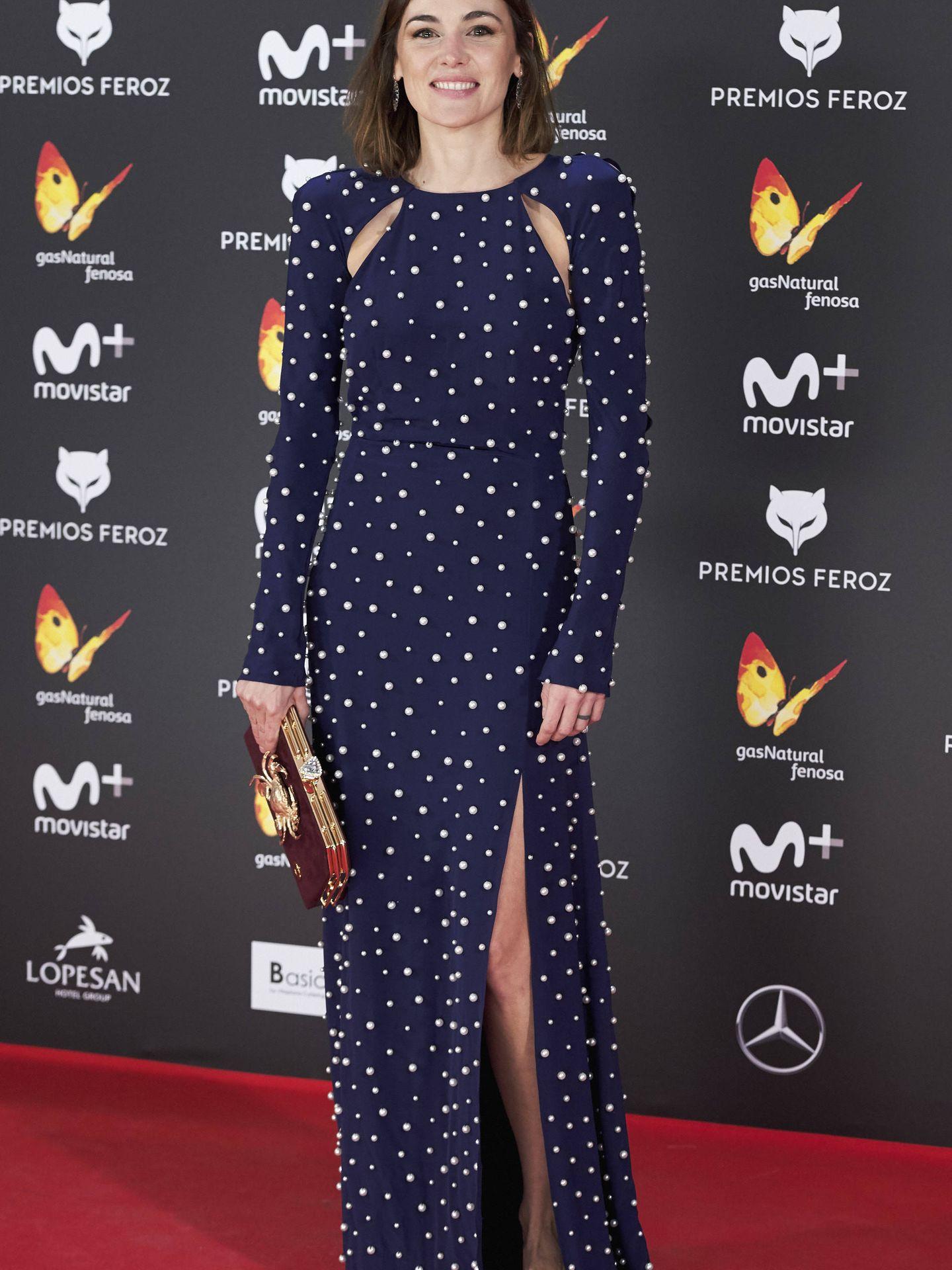 Marta Nieto con el famoso vestido durante los Premios Feroz 2017. (Getty)