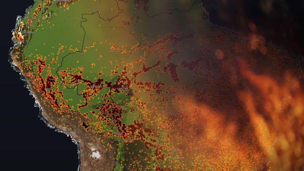 El dantesco mapa de los incendios del Amazonas: así se está quemando el pulmón del planeta