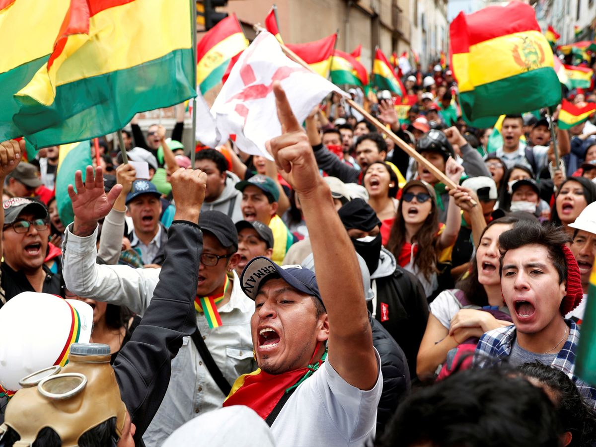 Foto: Manifestantes contra Evo Morales en La Paz. (Reuters)