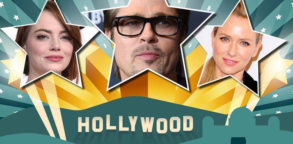 Foto: Emma Stone, Brad Pitt y Naomi Watts. (Fotomontaje de Vanitatis)
