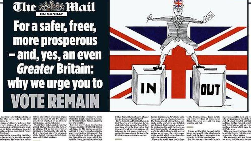 Foto: Editorial de Mail on Sunday sobre el referéndum de permanencia en la Unión Europea. (Foto: Mail on Sunday)