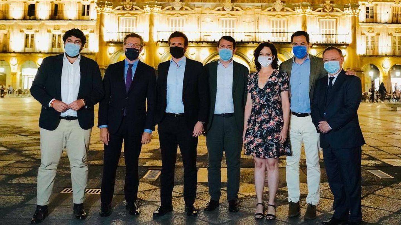 Casado y los barones del PP en Salamanca. (David Mudarra)