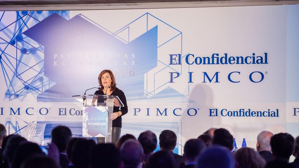 Foto: Soraya Sáenz de Santamaría durante el acto de PIMCO-El Confidencial. (Foto: Jorge Álvaro Manzano)