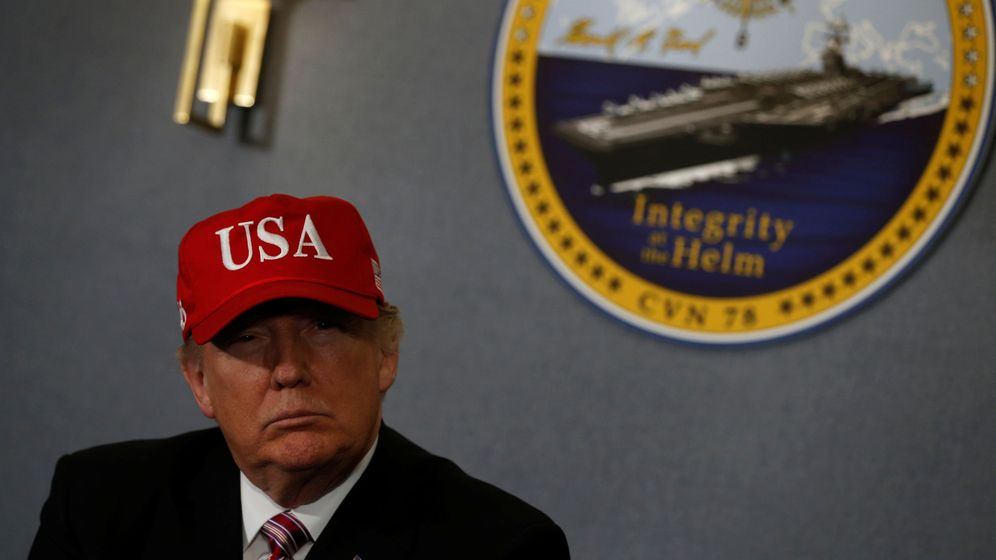 Foto: Donald Trump en un acto con la Armada estadounidense. (Reuters)