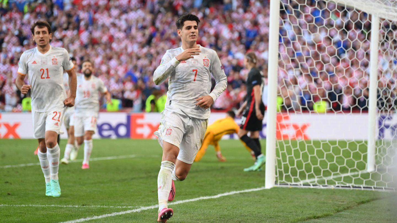 Morata celebra el 3-4. (Reuters)