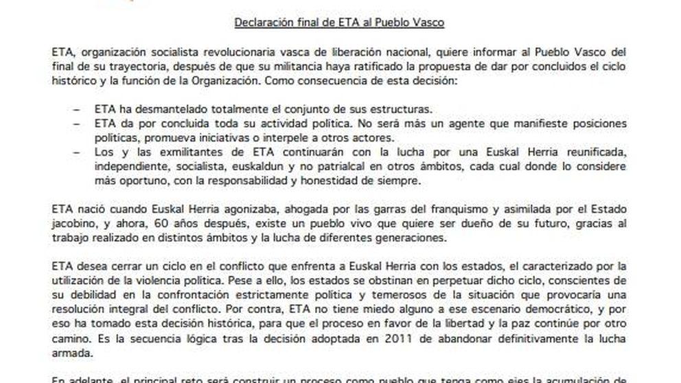 Así es la carta final de ETA: ETA surgió de este pueblo y se disuelve en él
