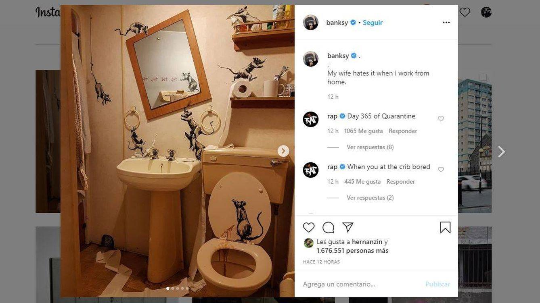 Arte urbano en tu baño: Banksy reaparece con obras caseras durante el coronavirus