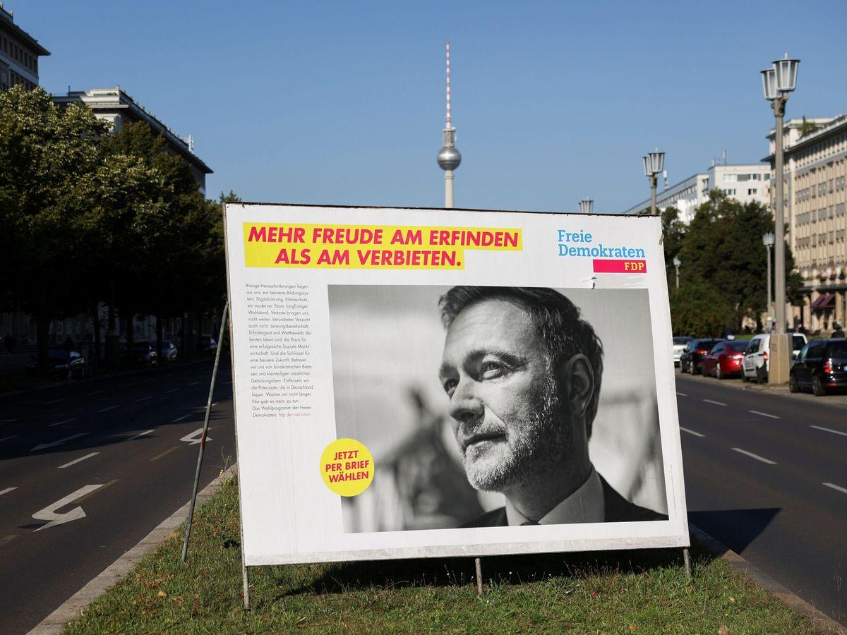 Foto: Publicidad electoral de los liberales en Berlín (Reuters)