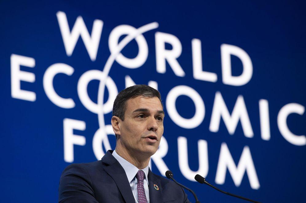 Foto: Pedro Sánchez, durante su intervención en Davos. (EFE)