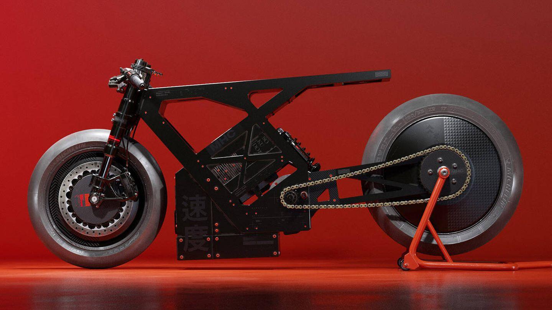 Cuadro, motor y ruedas de la Sokudo (Ash Thorp)