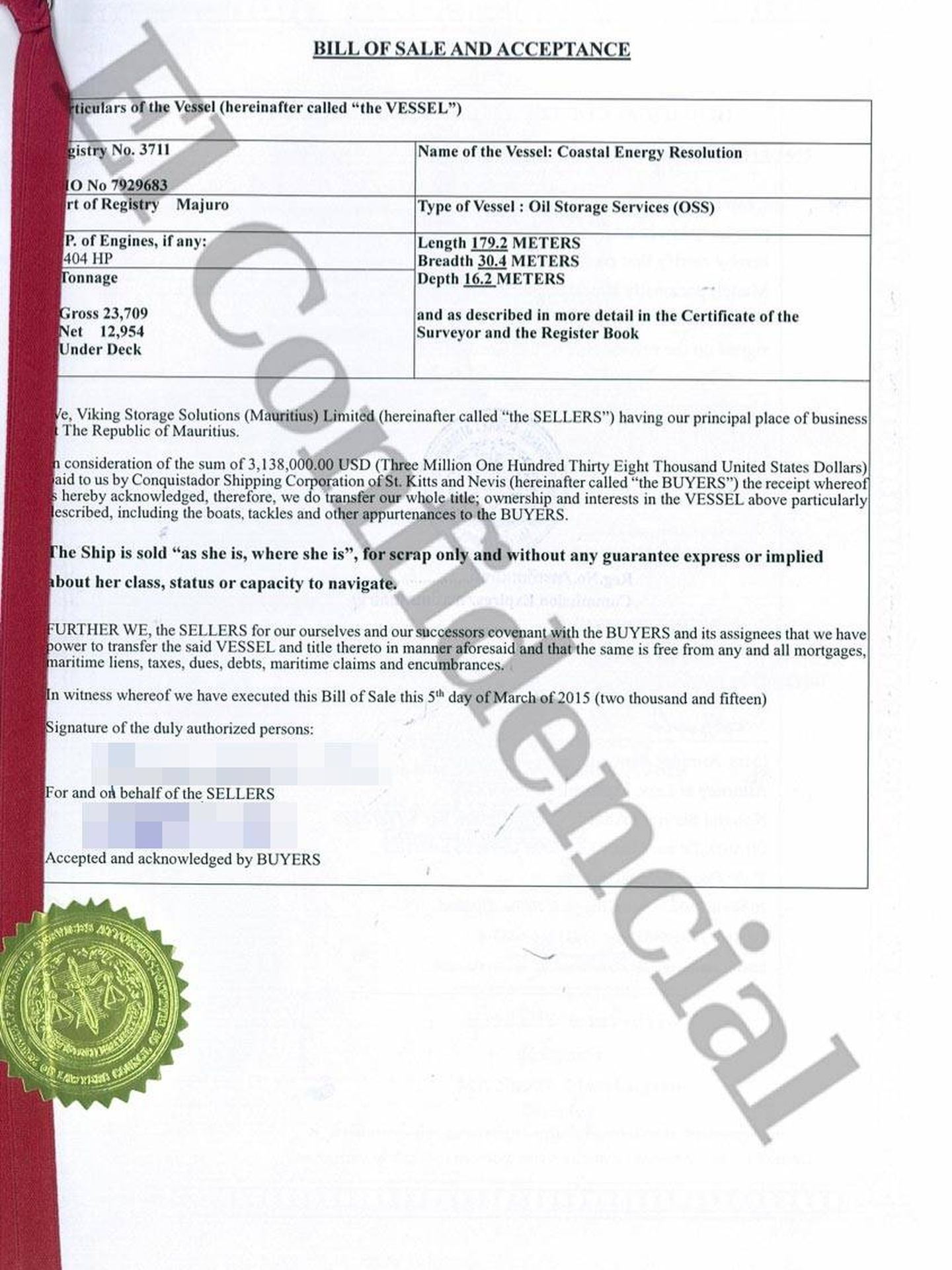 Cepsa vende su barco para que sea desguazado. (Mauritius Leaks/ICIJ). Pinche para ver el documento completo.