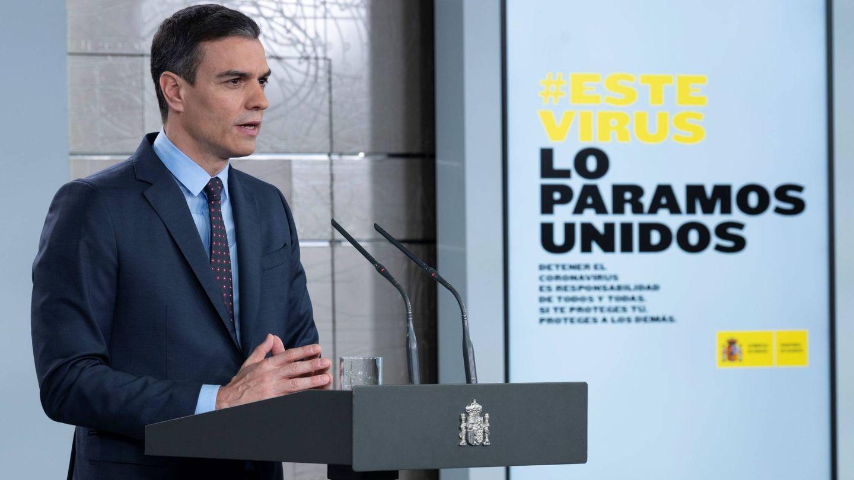 Pedro Sánchez, presidente del Gobierno, durante una comparecencia. (Moncloa)
