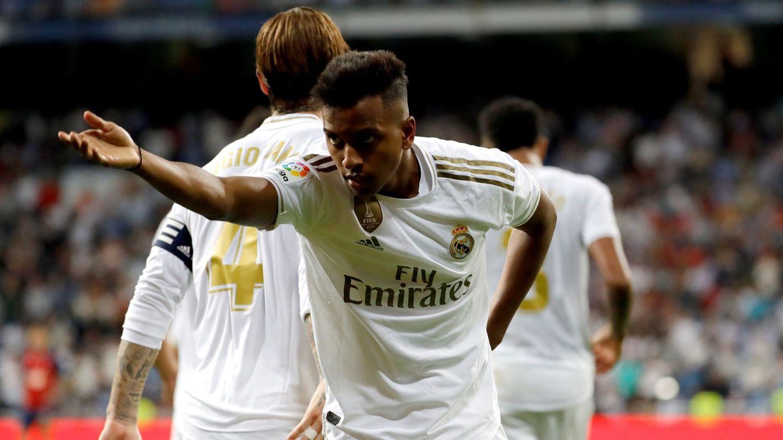 Rodrygo celebra su gol a Osasuna. (EFE)