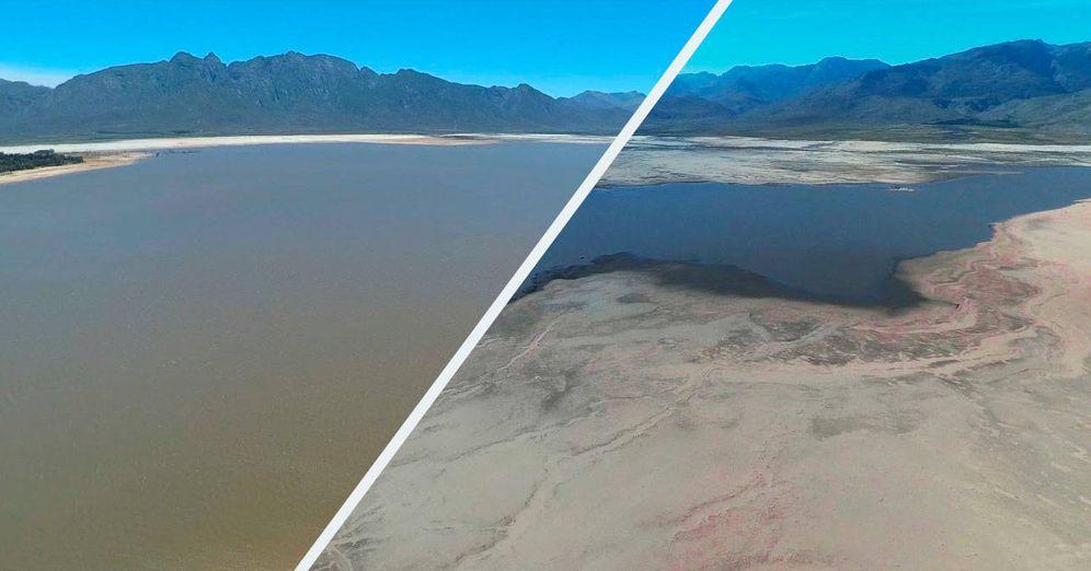 Foto: El antes y el después del pantano Theewaterskloof, una de las reservas de las que bebe casi toda Ciudad del Cabo.