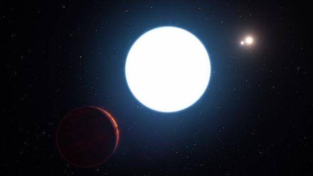 Foto: Ilustración del sistema estelar triple HD 131399, con sus tres estrellas (A,B y C) visto desde una posición cercana al planeta HD 131399Ab. / ESO/L. Calçada